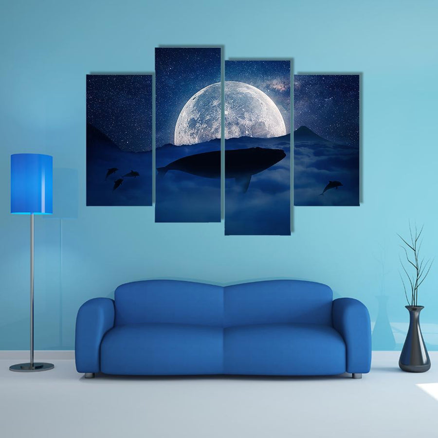 Silhouette Of A Whale Multi Panel Canvas Wall Art 5 Pieces(B) / Medium / Canvas Tiaracle
