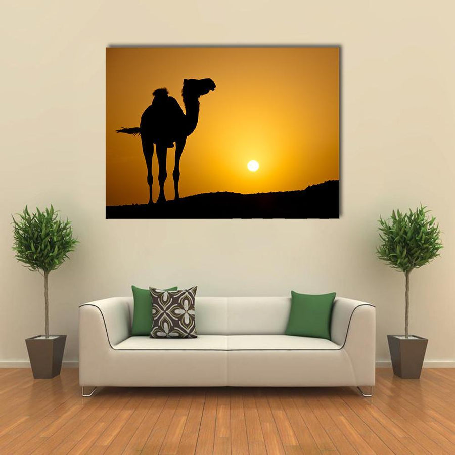 Silhouette Of A Wild Camel At Sunset Canva 5 Pieces(A) / Medium / Canvas Tiaracle