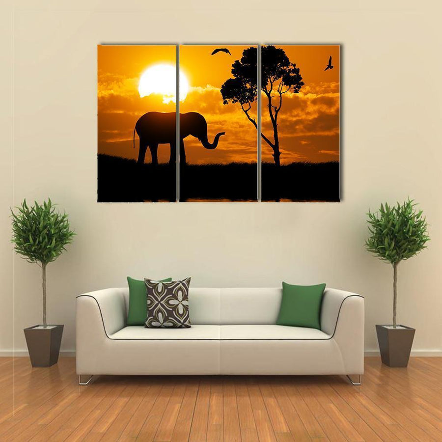 Silhouette Of Elephant Element Of design Canvas Panel Painting Tiaracle
