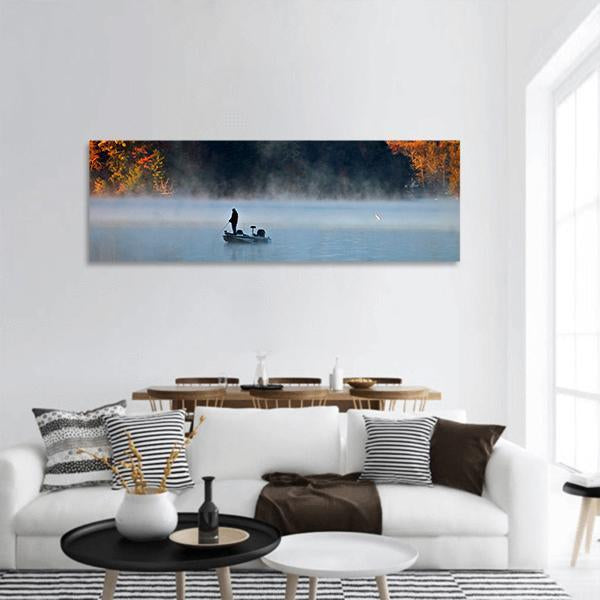 Silhouette Of Fishing Man Panoramic Canvas Wall Art Tiaracle