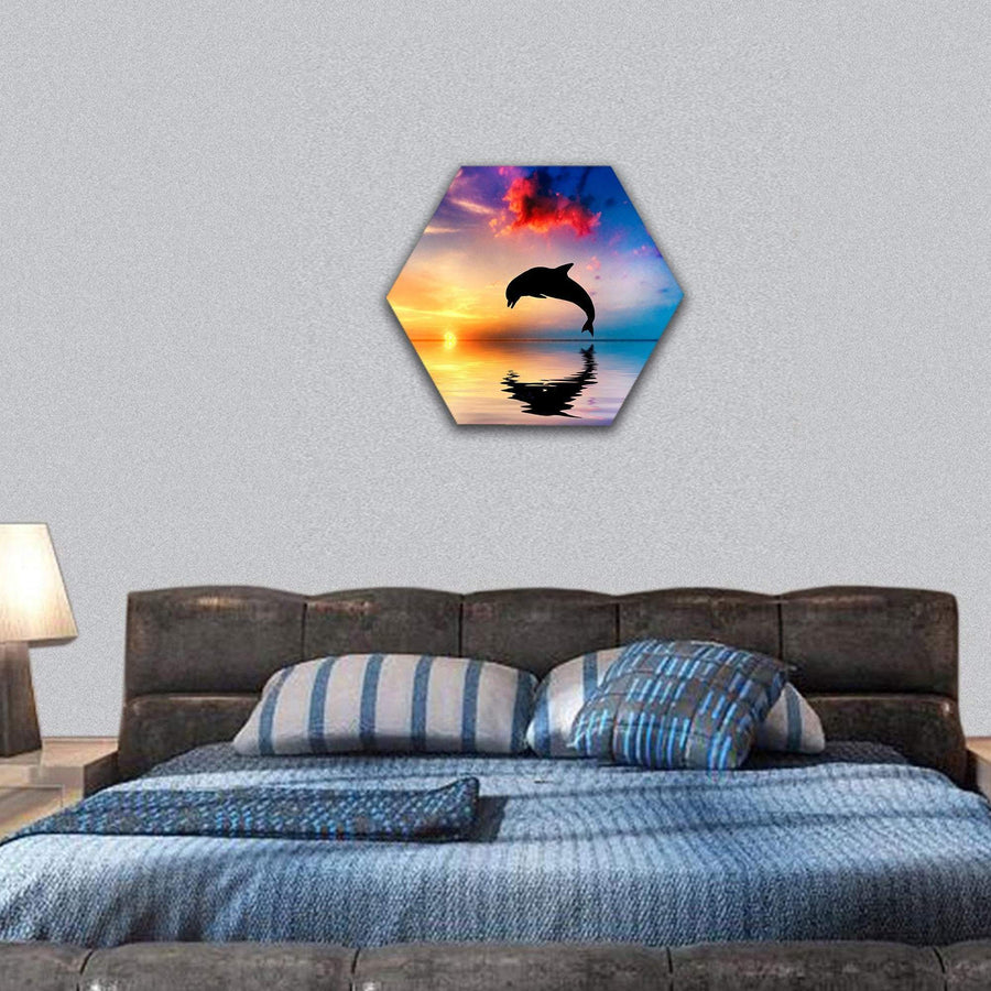 Silhouette Of Jumping Dolphin Hexagonal Canvas Wall Art 7 Hexa / Small / Gallery Wrap Tiaracle