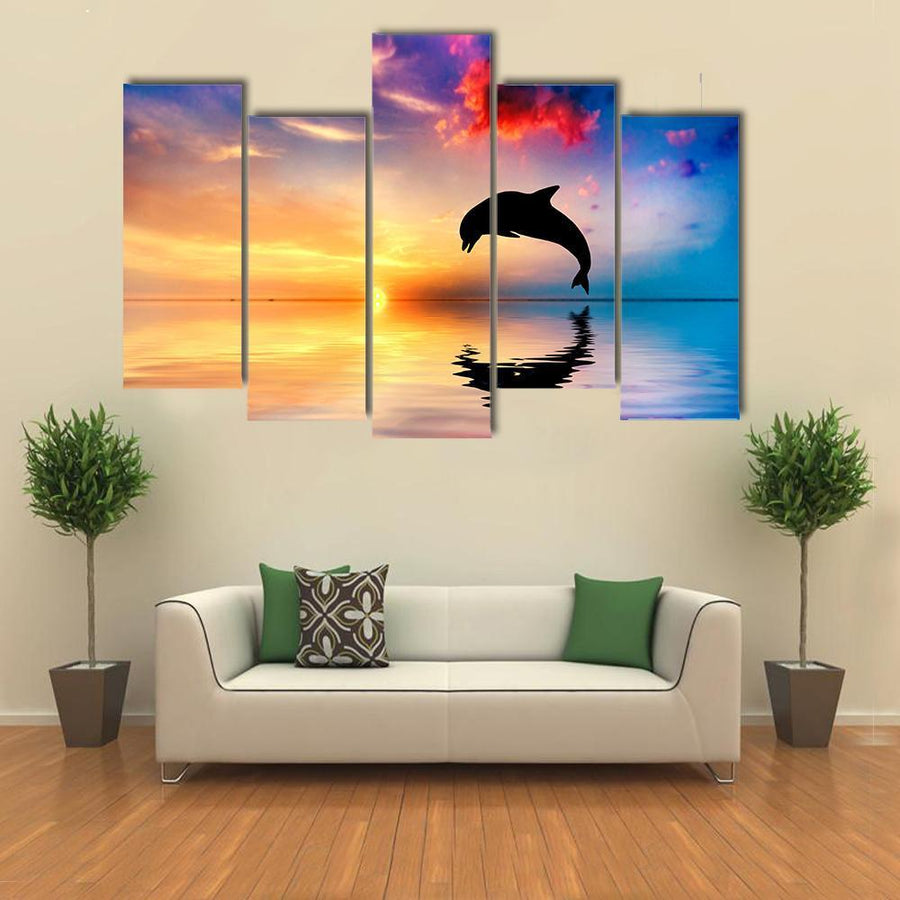 Silhouette Of Jumping Dolphin Canvas Panel Painting Tiaracle