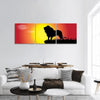 Silhouette Of Lion At Sunset Panoramic Canvas Wall Art 3 Piece / Small Tiaracle