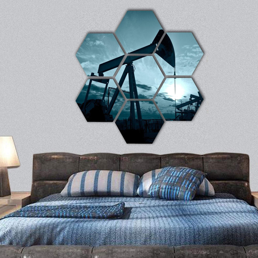Silhouette Of Oil Pumps On A Sunset Hexagonal Canvas Wall Art 1 Hexa / Small / Gallery Wrap Tiaracle