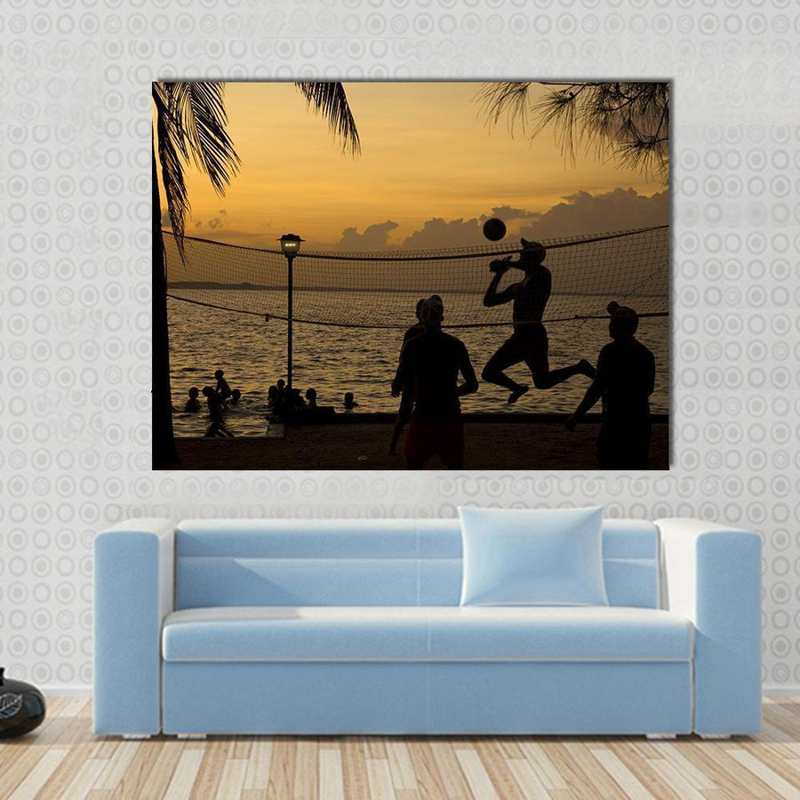 Silhouette Of People Playing Beach Volleyball At Sunset Canvas Panel Painting Tiaracle