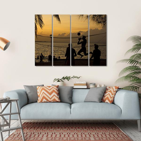 Silhouette Of People Playing Beach Volleyball At Sunset Multi Panel Canvas Wall Art 1 Piece / Small / Gallery Wrap Tiaracle