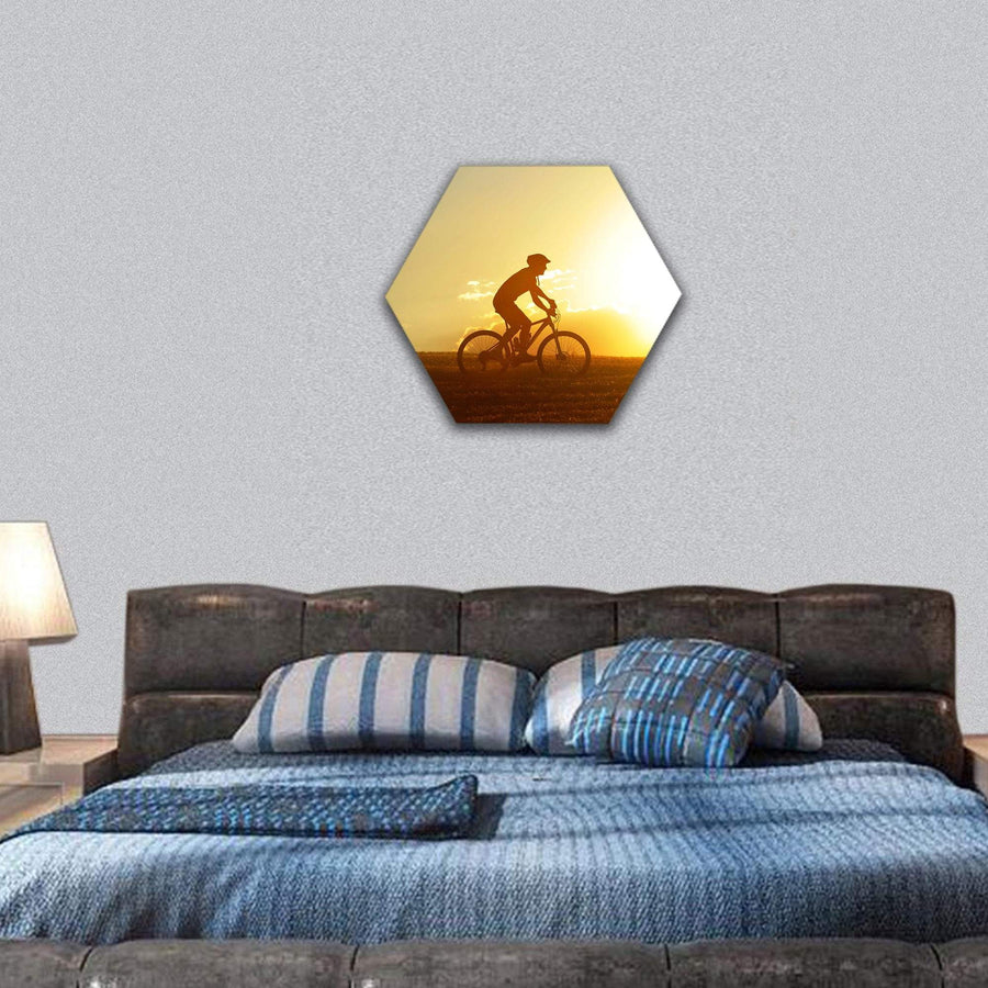 Silhouette Of Sport Man Cycling Hexagonal Canvas Wall Art 7 Hexa / Small / Gallery Wrap Tiaracle