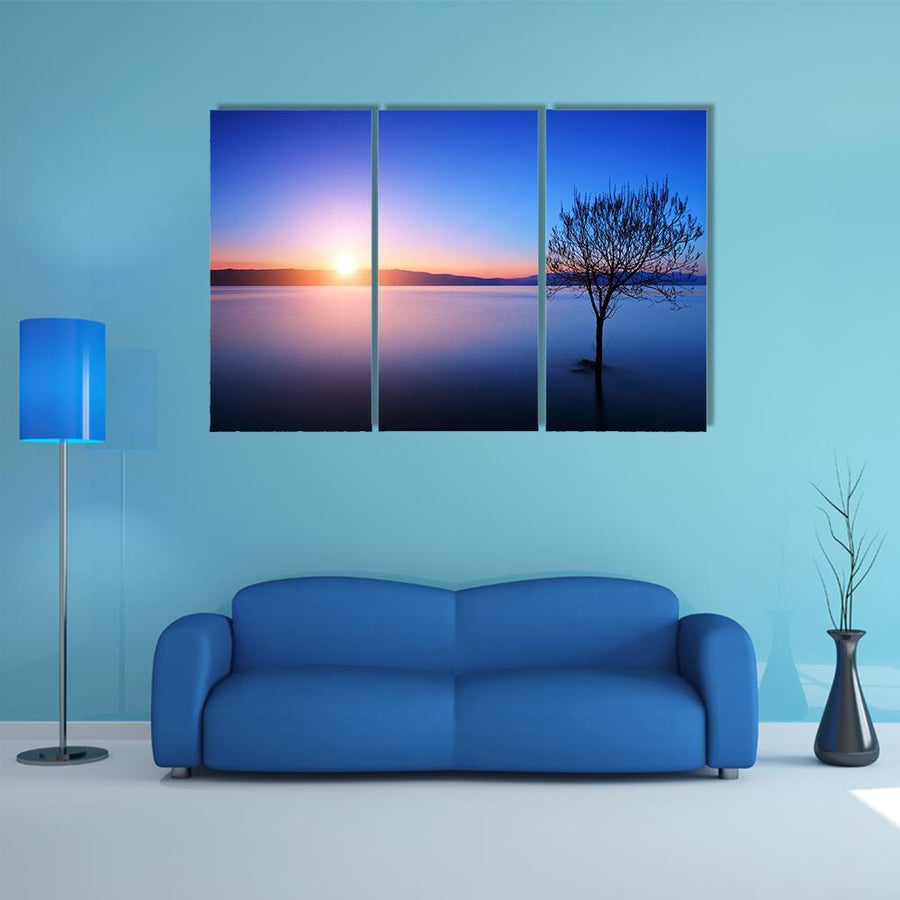 Silhouette Of Tree In Ohrid lake Multi Panel Canvas Wall Art 5 Pieces(B) / Medium / Canvas Tiaracle