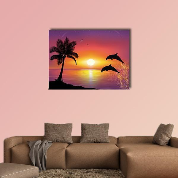 Silhouette Of Two Dolphins Jumping Out Of Water Multi Panel Canvas Wall Art 5 Pieces(A) / Medium / Canvas Tiaracle