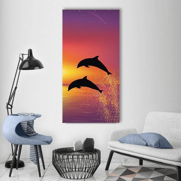 Silhouette Of Two Dolphins Vertical Canvas Wall Art 3 Vertical / Small / Gallery Wrap Tiaracle