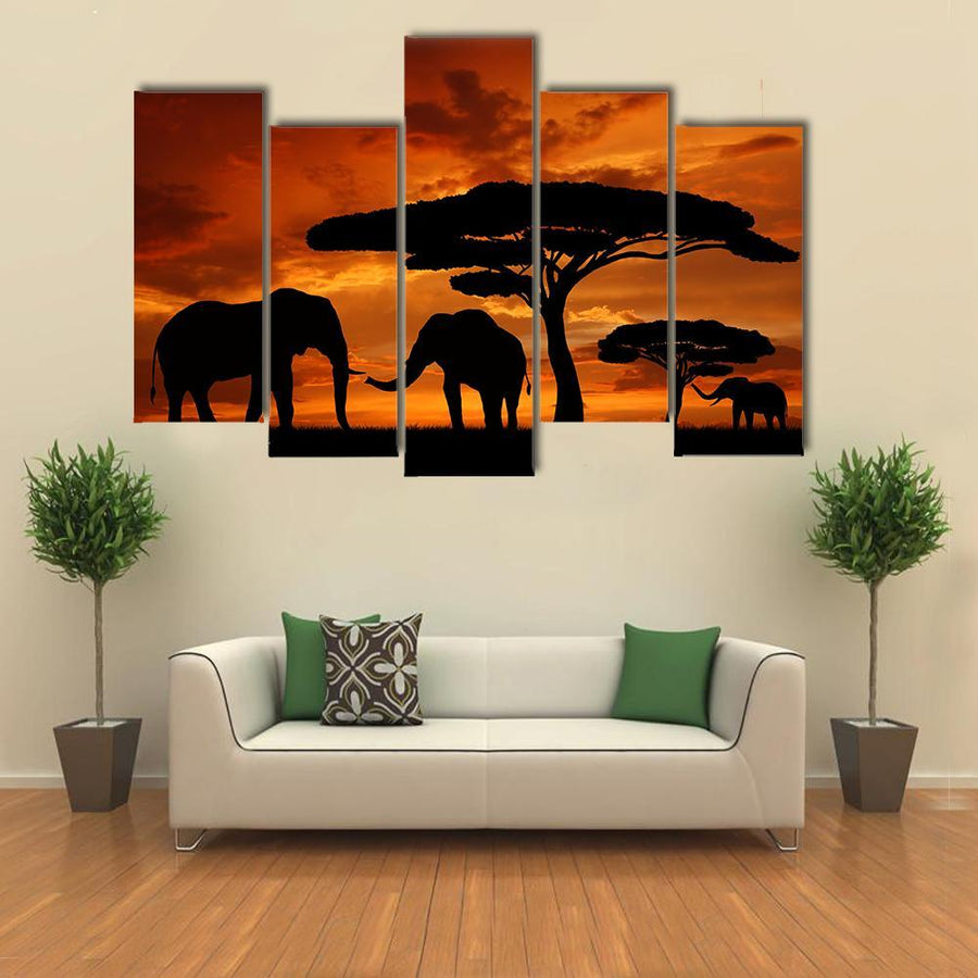 Silhouette Of Two Elephants In The Sunset Canvas Panel Painting Tiaracle