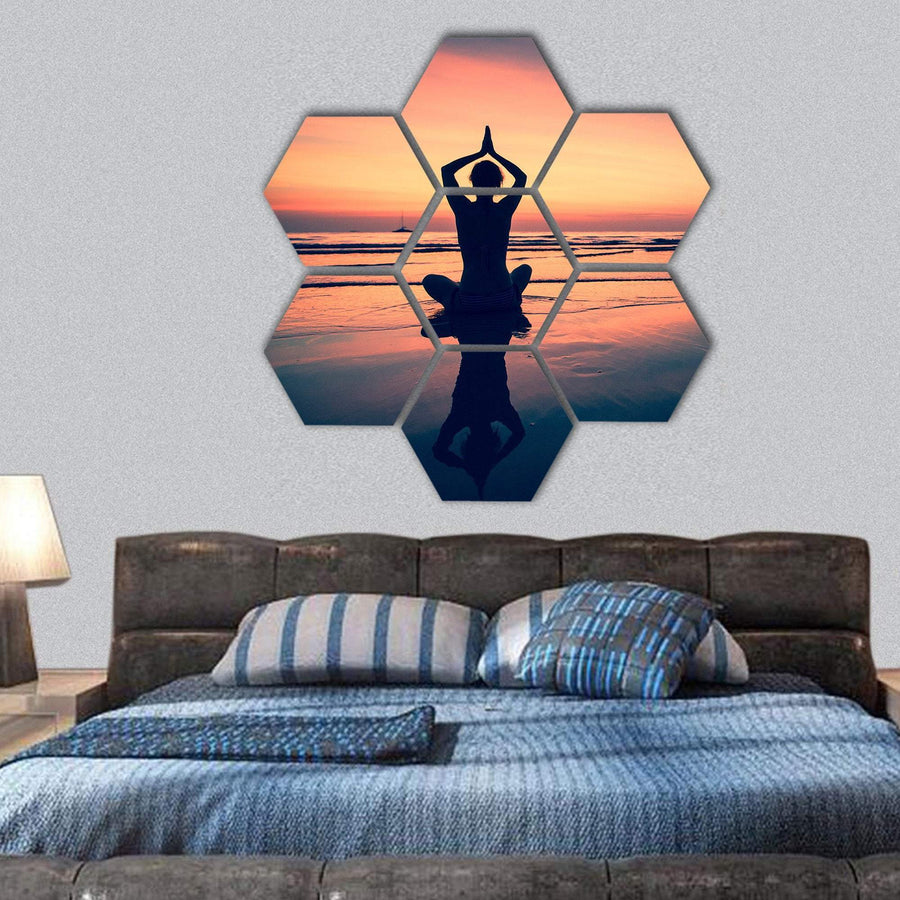 Silhouette Of Woman Practicing Yoga At The Seaside Hexagonal Canvas Wall Art 1 Hexa / Small / Gallery Wrap Tiaracle