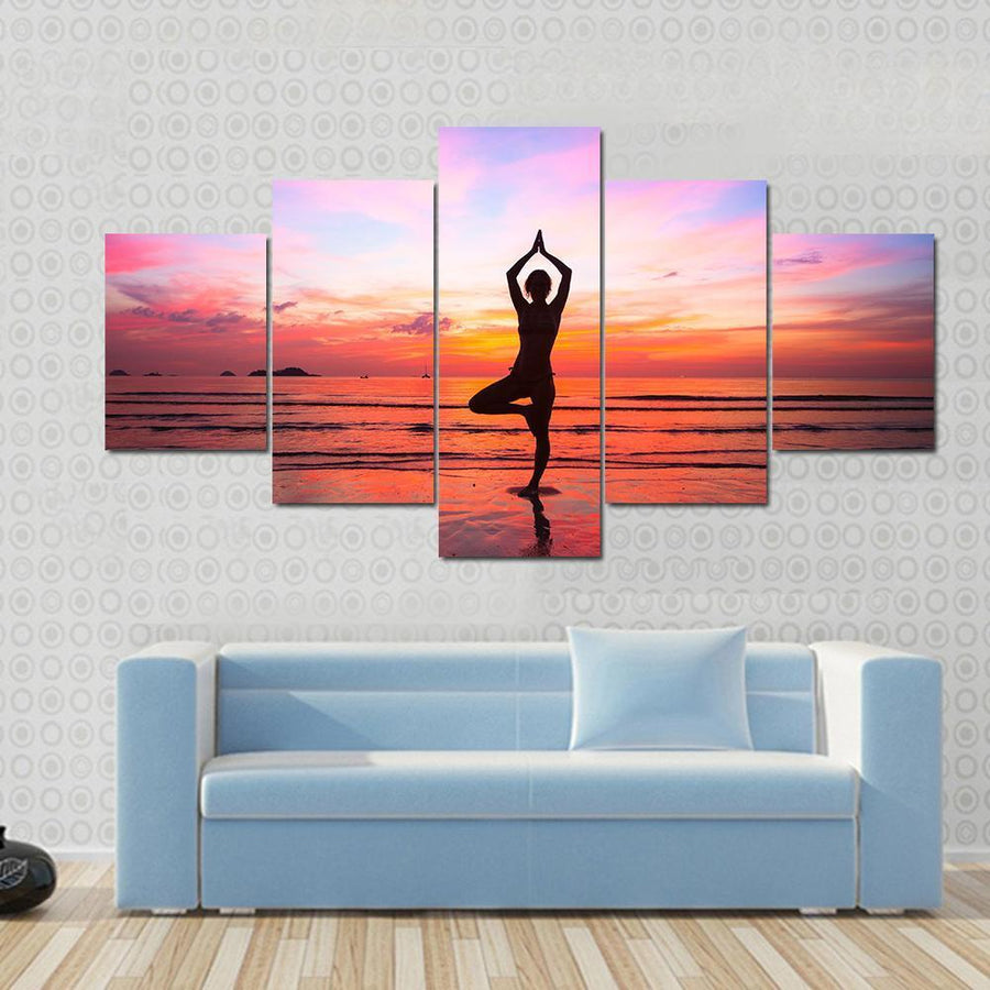Silhouette Woman Yoga practice At The Seaside At Sunset Multi Panel Canvas Wall Art 3 Pieces / Small / Gallery Wrap Tiaracle