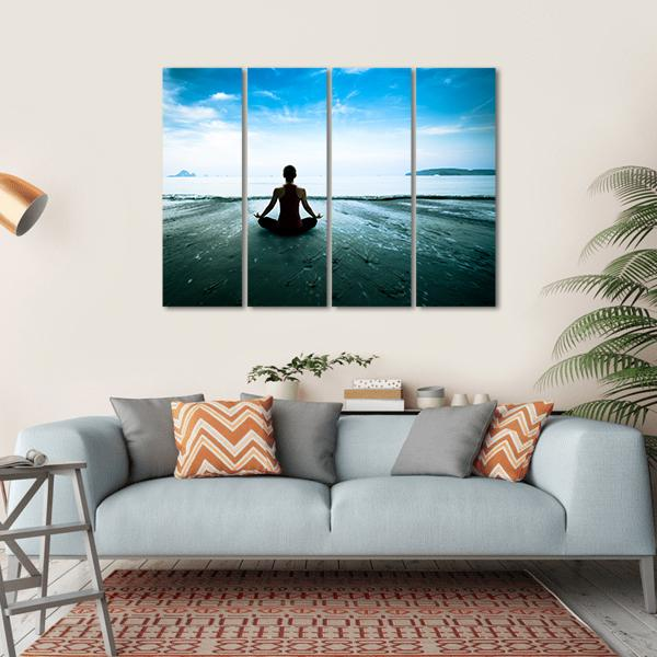 Silhouette Young Woman Practicing Yoga On The Beach Canvas Wall Art-5 Horizontal-Small-Gallery Wrap-Tiaracle
