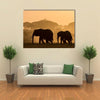 Silhouettes Of Elephants Multi Panel Canvas Wall Art 1 Piece / Xsmall / Gallery Wrap Tiaracle