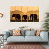 Silhouettes Of Elephants Multi Panel Canvas Wall Art 5 Horizontal / Small / Gallery Wrap Tiaracle