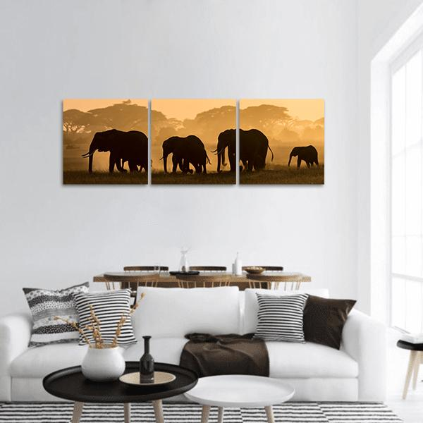 Silhouette Of Elephant Panoramic Canvas Wall Art Tiaracle