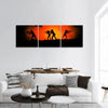 Silhouettes Of Soldiers Panoramic Canvas Wall Art 3 Piece / Small Tiaracle