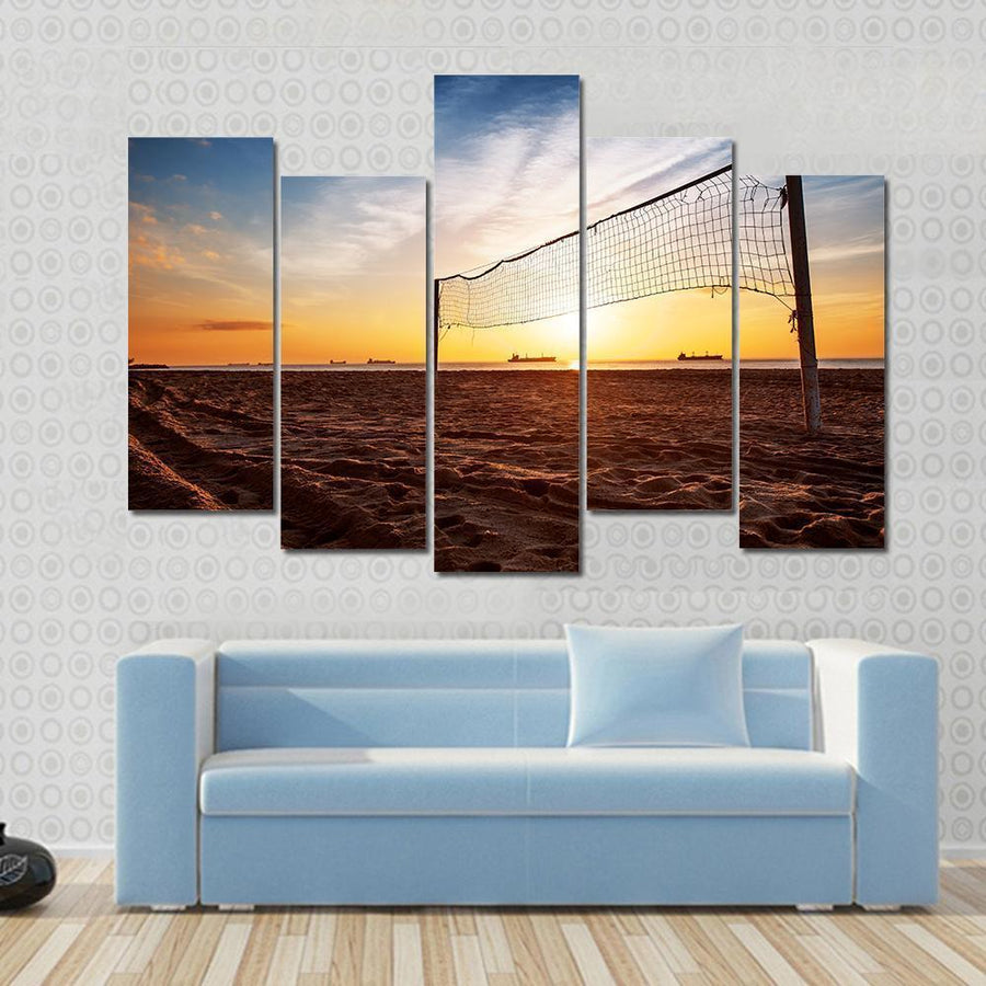 Sillhouette Of A Volleyball Net And Sunrise On The Beach Canvas Panel Painting Tiaracle
