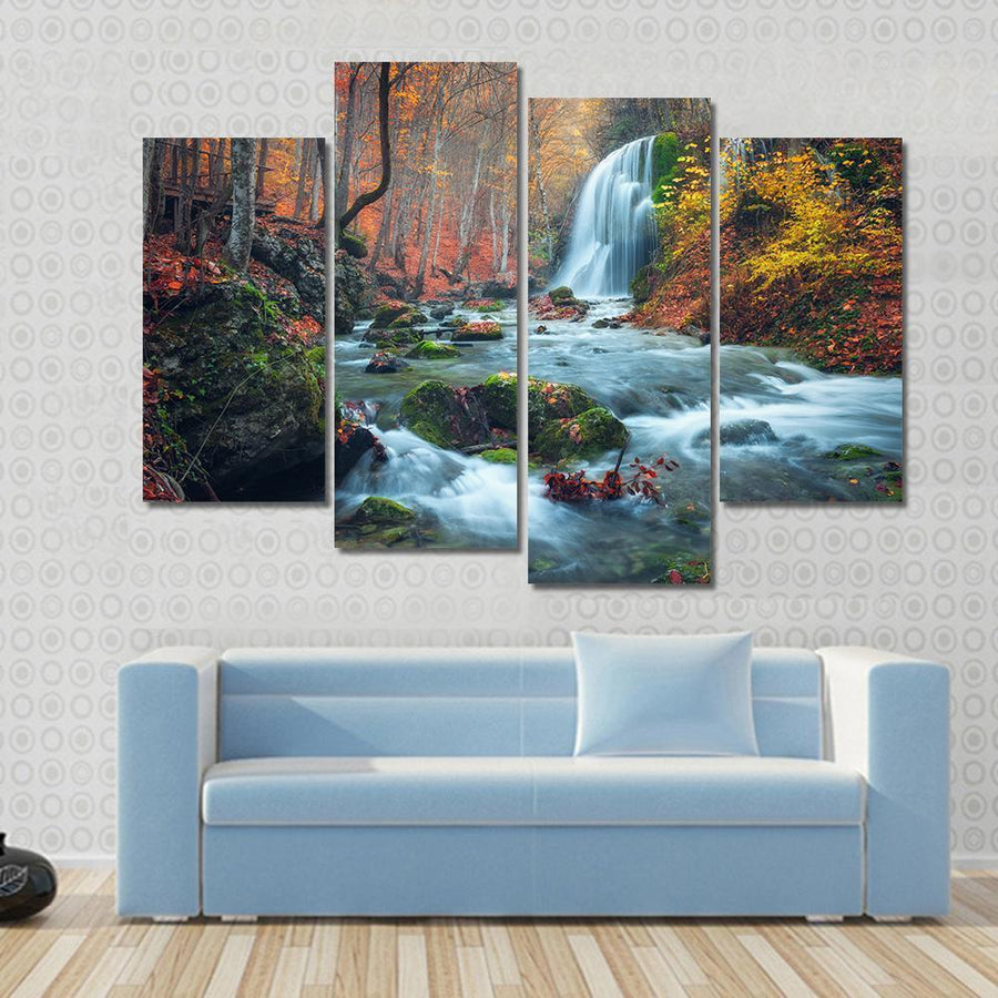 Silver Stream Waterfall In Grand Canyon Of Crimea At Sunset Multi Panel Canvas Wall Art 3 Pieces / Small / Gallery Wrap Tiaracle