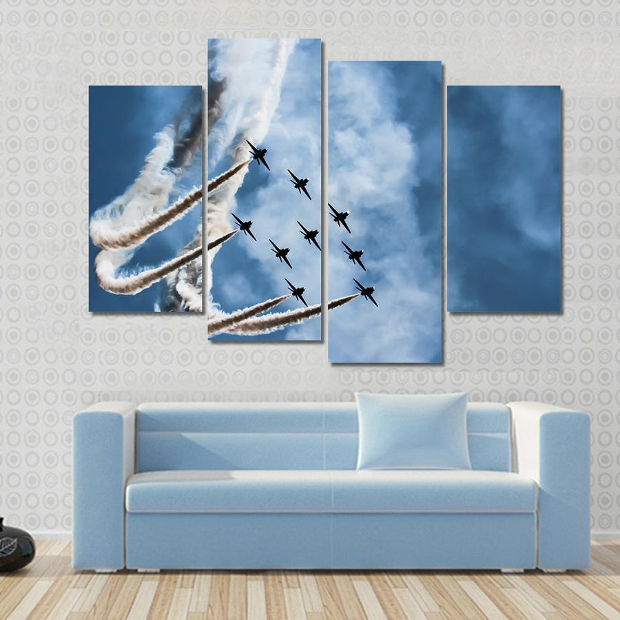 Sky Fighters Airshow Multi Panel Canvas Wall Art 3 Pieces / Small / Gallery Wrap Tiaracle