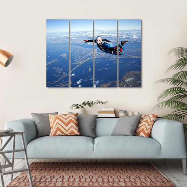Skydiver Falls Through The Air Multi Panel Canvas Wall Art 1 Piece / Small / Gallery Wrap Tiaracle