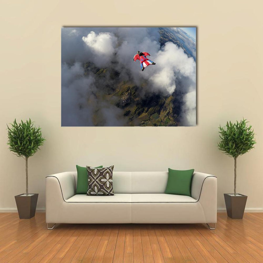 Skydiver In Wingsuit Canvas Wall Art-5 Horizontal-Small-Gallery Wrap-Tiaracle