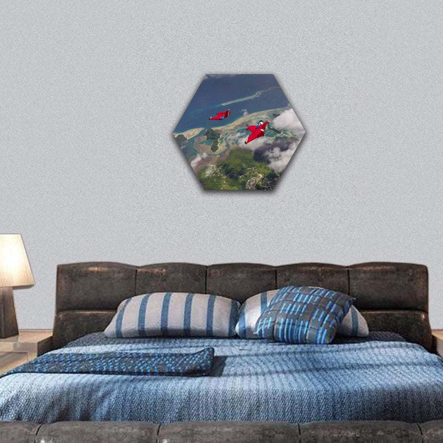Skydiver In Wingsuit Flying Over Palau Coast Hexagonal Canvas Wall Art 7 Hexa / Small / Gallery Wrap Tiaracle