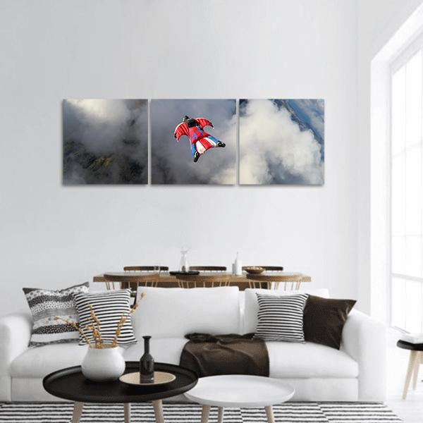 Skydiver In Wingsuit Panoramic Canvas Wall Art 1 Piece / Small Tiaracle