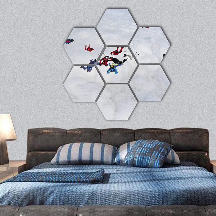 Skydivers Above The Clouds Hexagonal Canvas Wall Art 1 Hexa / Small / Gallery Wrap Tiaracle