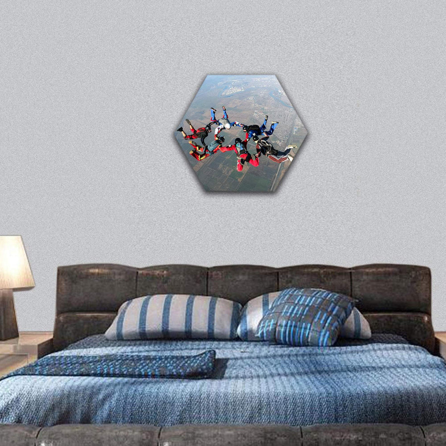 Skydivers Groups In The Sky Hexagonal Canvas Wall Art 7 Hexa / Small / Gallery Wrap Tiaracle