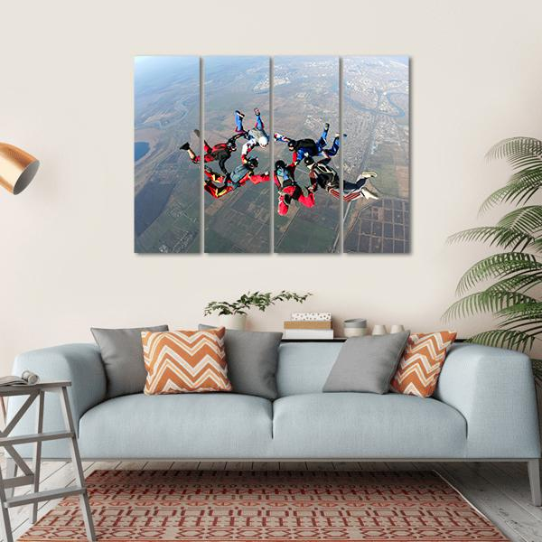 Skydivers Groups Moving Towards Ground Multi Panel Canvas Wall Art-1 Piece-Small-Gallery Wrap-Tiaracle