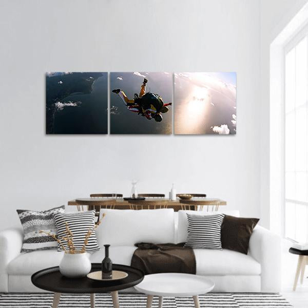 Skydivers In Action Panoramic Canvas Wall Art 1 Piece / Small Tiaracle