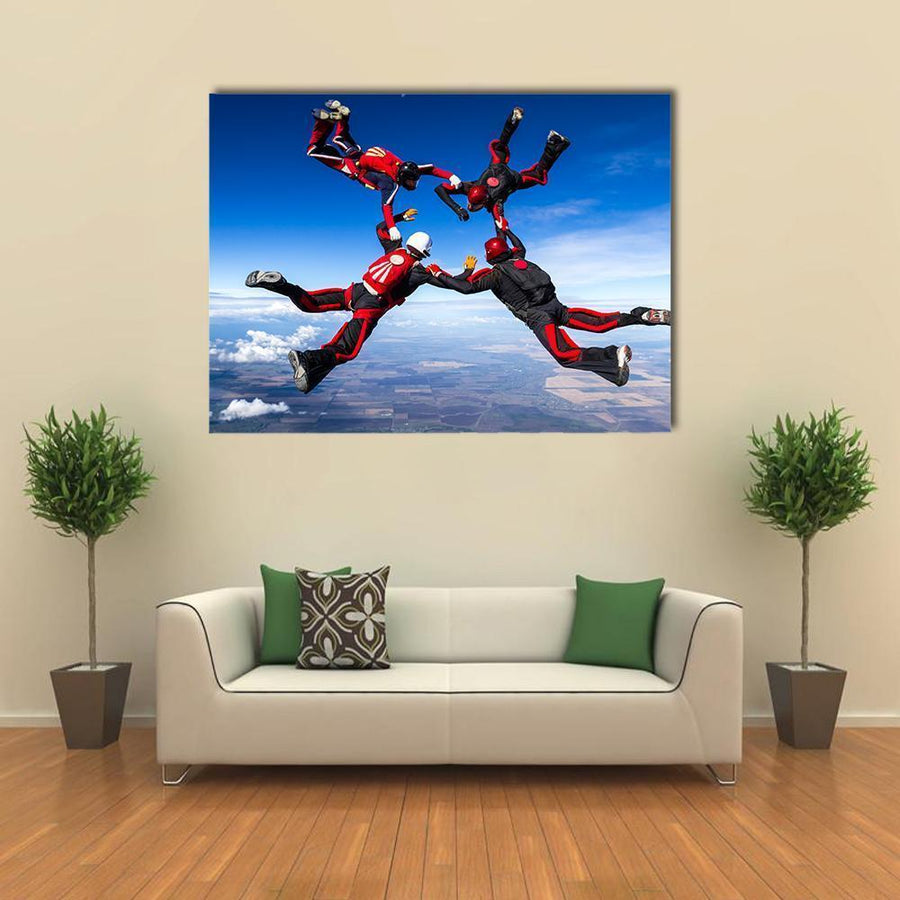 Skydivers In Relative Work Multi Panel Canvas Wall Art-4 Horizontal-Small-Gallery Wrap-Tiaracle
