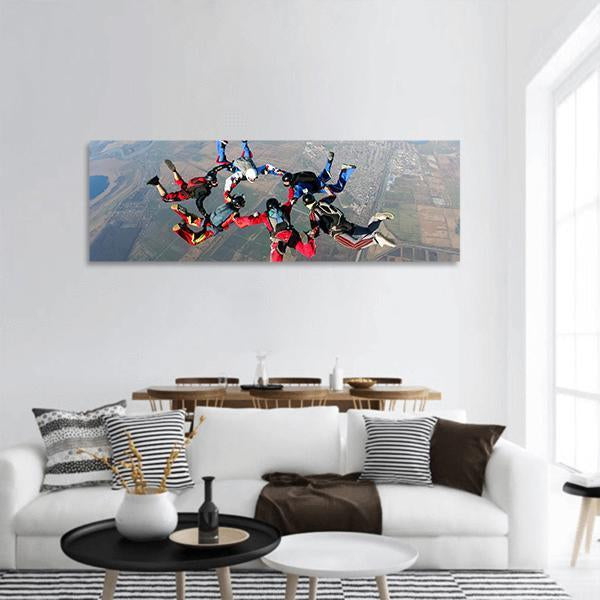Skydiving In Group Panoramic Canvas Wall Art 3 Piece / Small Tiaracle