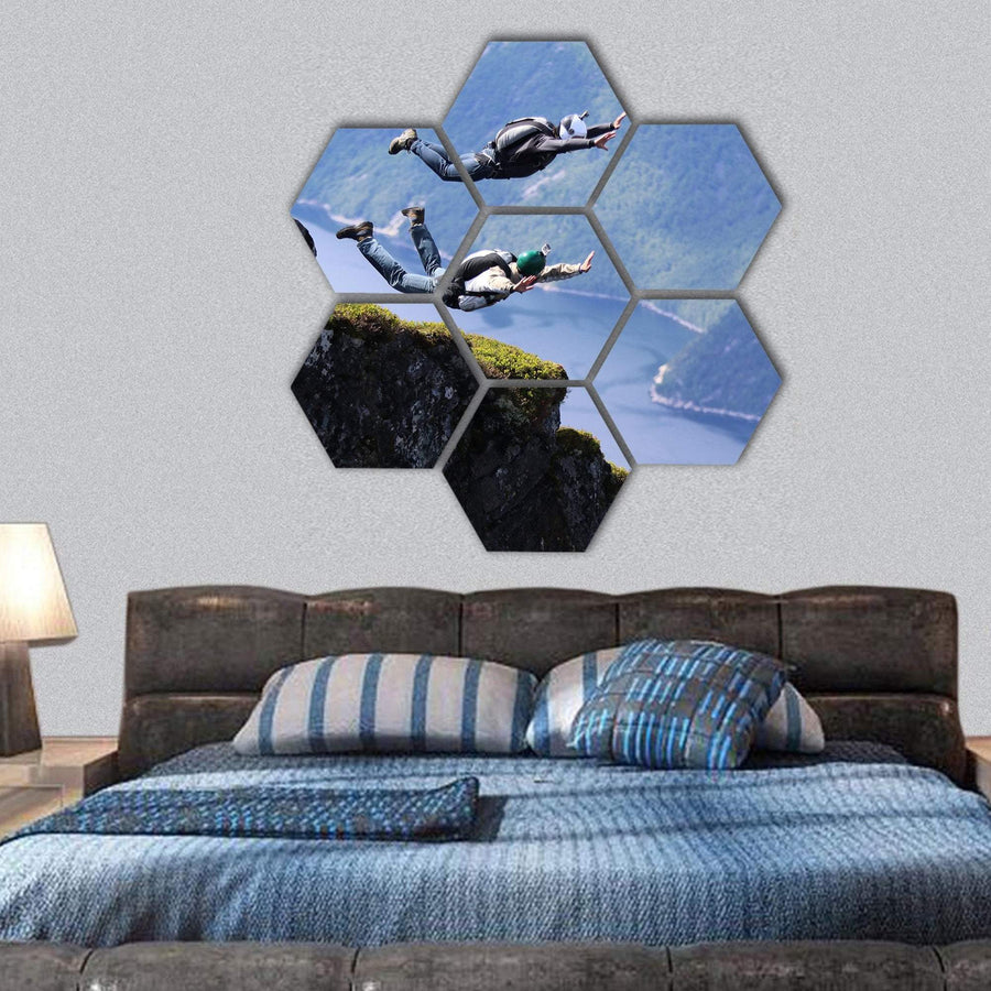 Skydiving in Norway Hexagonal Canvas Wall Art 1 Hexa / Small / Gallery Wrap Tiaracle