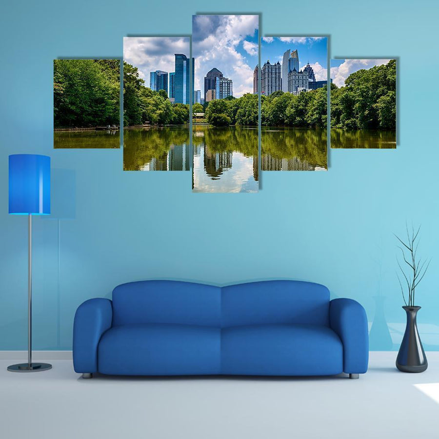 Skyline Of Downtown Atlanta Multi Panel Canvas Wall Art 5 Pieces(A) / Medium / Canvas Tiaracle