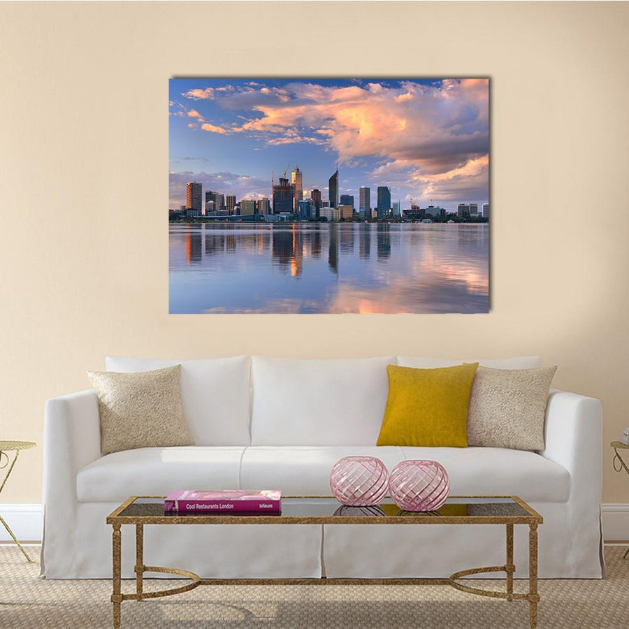 Skyline Of Perth Canvas Wall Art-5 Horizontal-Small-Gallery Wrap-Tiaracle