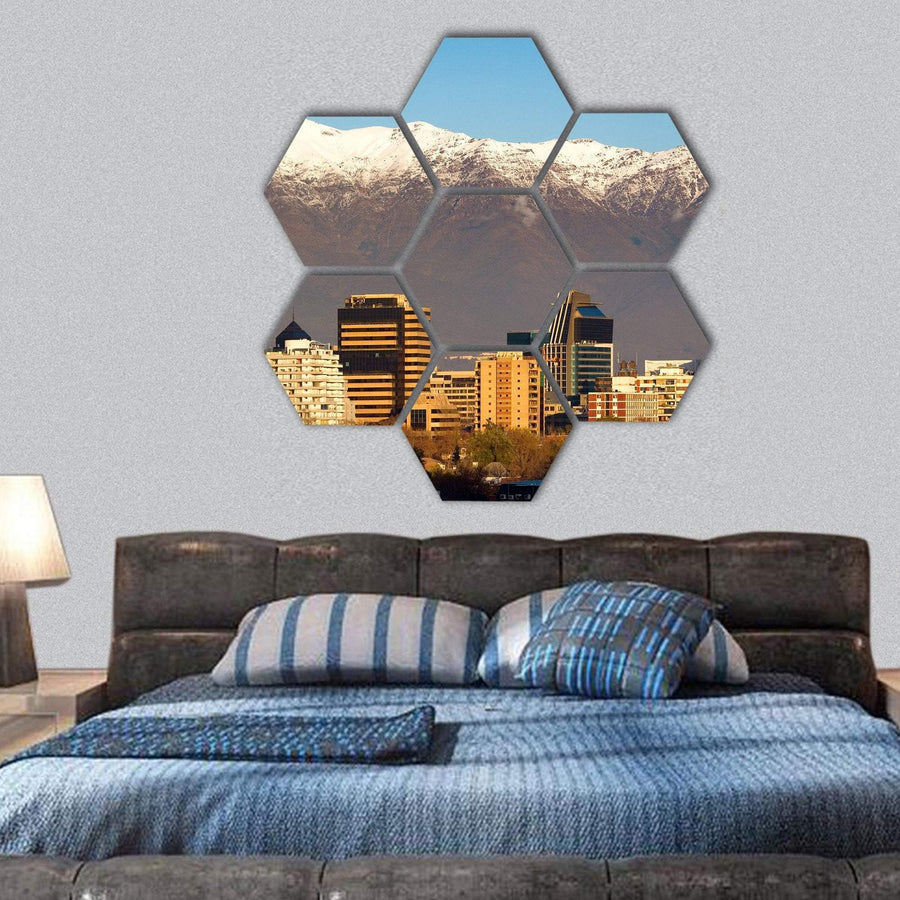 Skyline Of Providencia District In Santiago De Chile Hexagonal Canvas Wall Art 1 Hexa / Small / Gallery Wrap Tiaracle