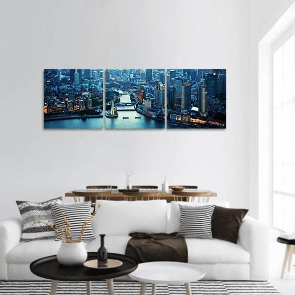 Skyline Of Shanghai At Sunset Panoramic Canvas Wall Art Tiaracle