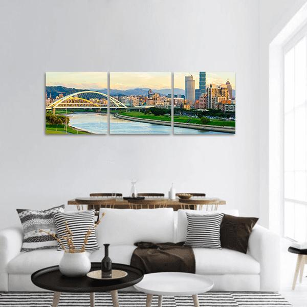 Skyline Of The Taipei City By The River Panoramic Canvas Wall Art Tiaracle