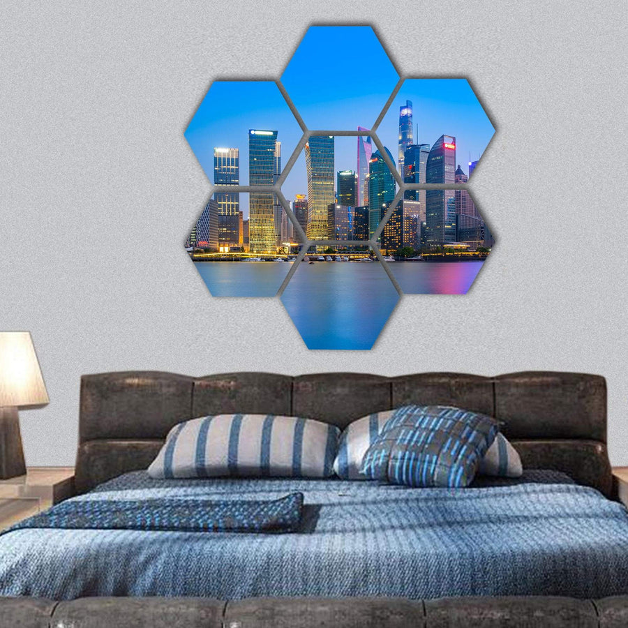Skyscrapers In Shanghai Financial District Hexagonal Canvas Wall Art 1 Hexa / Small / Gallery Wrap Tiaracle