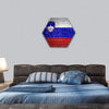 Slovenia Flag On A Brick Wall Hexagonal Canvas Wall Art 1 Hexa / Small / Gallery Wrap Tiaracle
