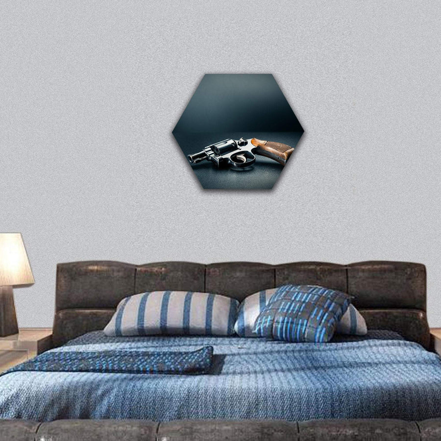 Smart Pistol On A Table Hexagonal Canvas Wall Art 7 Hexa / Small / Gallery Wrap Tiaracle