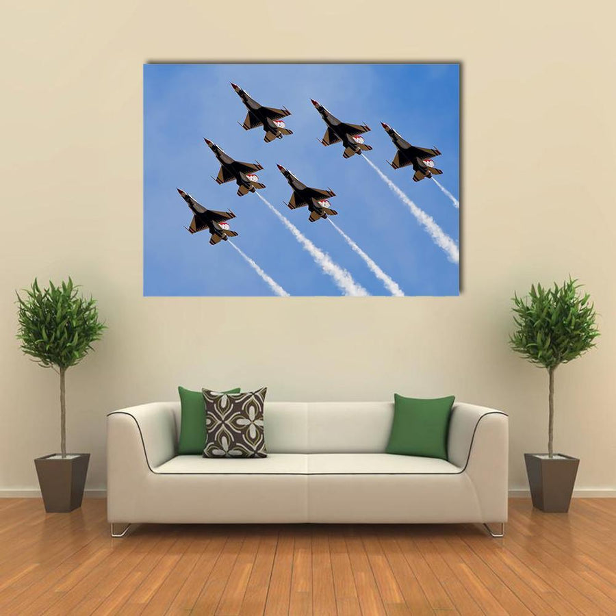 Smoke From Army Jets At Airshow Multi Panel Canvas Wall Art 4 Square / Small / Gallery Wrap Tiaracle