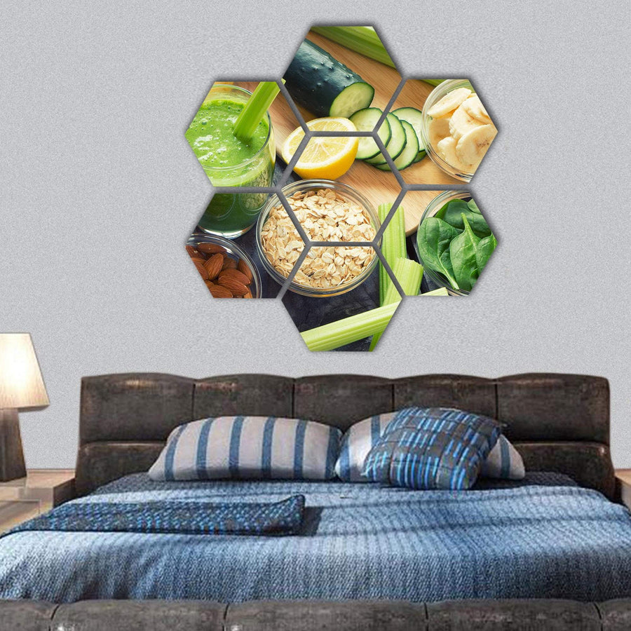 Smoothie With Fruits And Vegetables Hexagonal Canvas Wall Art 1 Hexa / Small / Gallery Wrap Tiaracle
