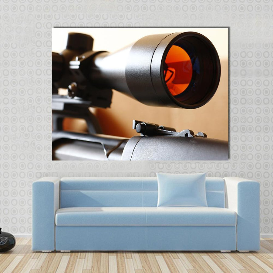 Sniper Rifle Scope Multi Panel Canvas Wall Art 5 Horizontal / Small / Gallery Wrap Tiaracle