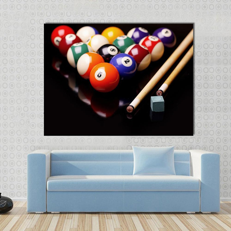 Billiards Balls And Cues With Chalk Canvas Panel Painting Tiaracle
