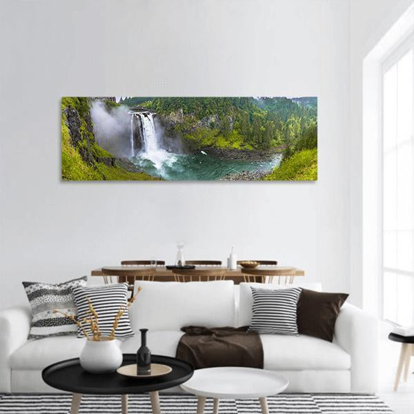 Snoqualmie Falls In Seattle Building Panoramic Canvas Wall Art 3 Piece / Small Tiaracle