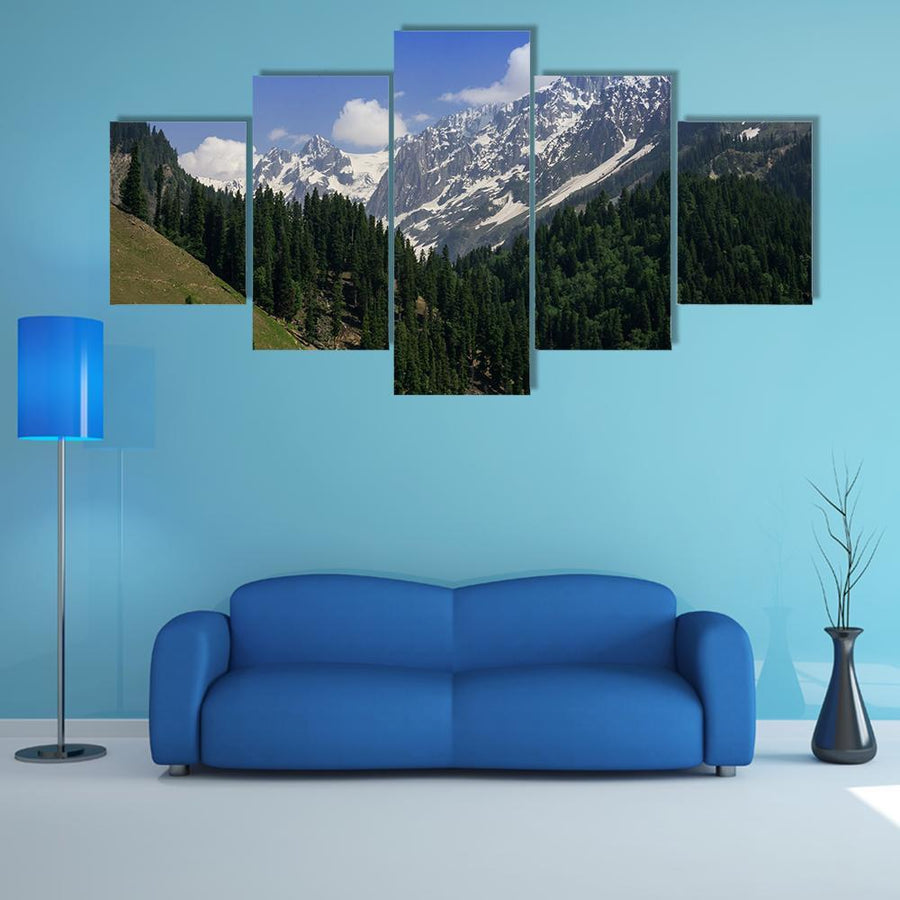 Snow Mountain With Pine Forest Multi Panel Canvas Wall Art 3 Pieces / Medium / Canvas Tiaracle